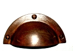 128RO Country style Cast iron cup pull in Rust finish