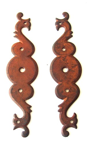 1050503/4RO French Escutcheons Pair R/L side French rust finish